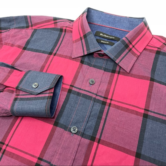 Bugatchi Shaped Fit Long Sleeve Button Front Shirt